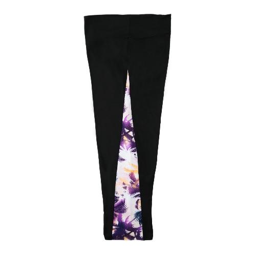 Mujeres deportes polainas medias Yoga pantalones ropa deportiva impresión cintura elástica entrenamiento recortada pantalones