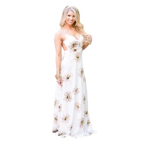 Nuove donne Sexy lungo abito V collo floreale stampa Spaghetti Strap Casual spiaggia Backless Sundress Slip abito bianco