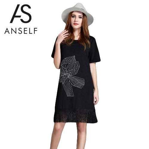 Nova verão mulher Plus tamanho vestido bordado Floral Tassel Hem manga curta solta elegante vestido reto preto