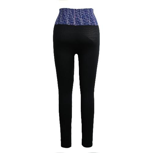 Moda donne Yoga pantaloni alta elastico occhiello Mesh Sport Running Fitness Pantaloni Leggings Slim