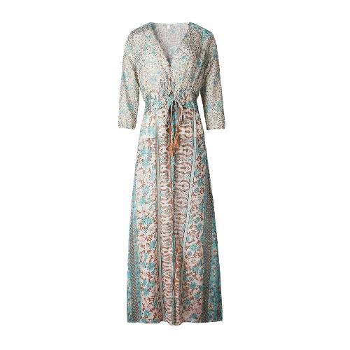 8a37259c18c New Fashion Women Vintage Chiffon Dress Floral Print Half Sleeve Deep V  Neck High Split Sexy