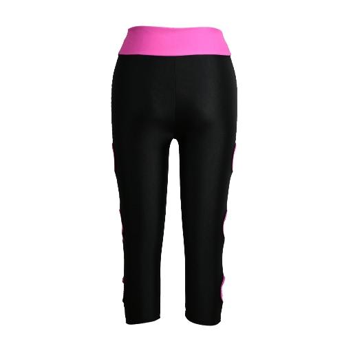 Kobiety Legginsy sportowe Przycięte Wytnij Nogę Oddychający Rozciągliwość Kontrast Fitness Jogging Skórzane Spodnie Spodnie