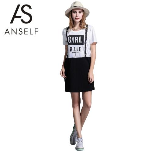 1ee55e85c5513 Fashion Women Plus Size Dress Contrast Suspender Letter Print O-Neck Cotton  Casual Loose Mini