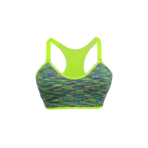Moda mujer sujetador correas ajustables inalámbrico cojines desmontable gimnasio elástico superior Fitness sujetador de los deportes