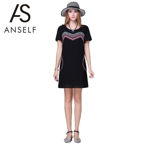 Chiffon Kleid Mode Frauen Plus Größe bestickte Band Kurzarm O Hals H-Line locker geradeaus Minikleid schwarz
