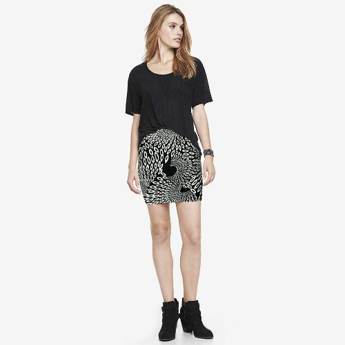 New Fashion Women Skirt Floral Geometric Pattern Print Color Block High Elastic Waist Casual Mini Skirt