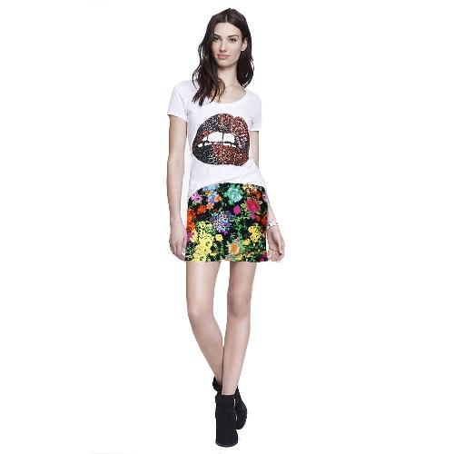 Nueva moda mujer falda Floral patrón geométrico Color impresión bloque de cintura elástica alta Casual Mini falda