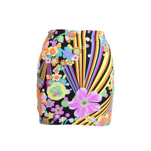 New Fashion Women Skirt Floral Geometric Pattern Print Color Block High Elastic Waist Casual Mini Skirt
