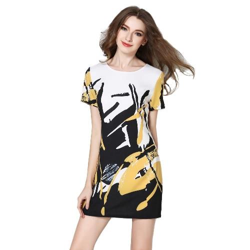 New Fashion Women Mini Dress Printed Color Block Zipper Fastening Round Neck Short Sleeve Elegant One-Piece Yellow