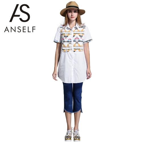 Moda mujer blusa larga Plus tamaño patrón geométrico baje dobladillo asimétrico de cuello botones manga corta Casual Top camisa blanco