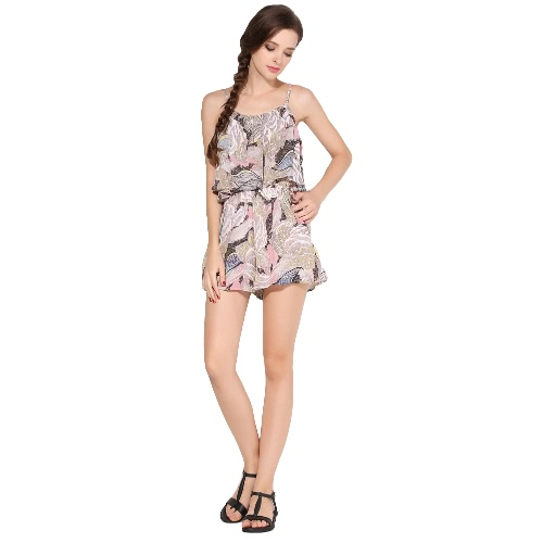 New Sexy Women Jumpsuit Bohemian Floral Print Ruffled Slip Dress Summer Casual Beach Playsuit Rompers Culotte Green/Pink