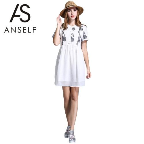 New Fashion Women Dress Chiffon Embroidery O-Neck Short Sleeves Button Loose Large Size Dress White