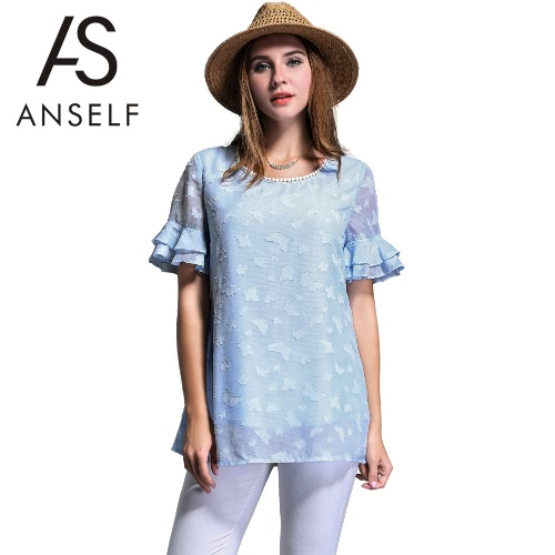 New Fashion Women Chiffon Blouse Plus Size Pom Pom Detail O-Neck Double Layers Butterfly Jacquard Ruffled Short Sleeves Top Blue