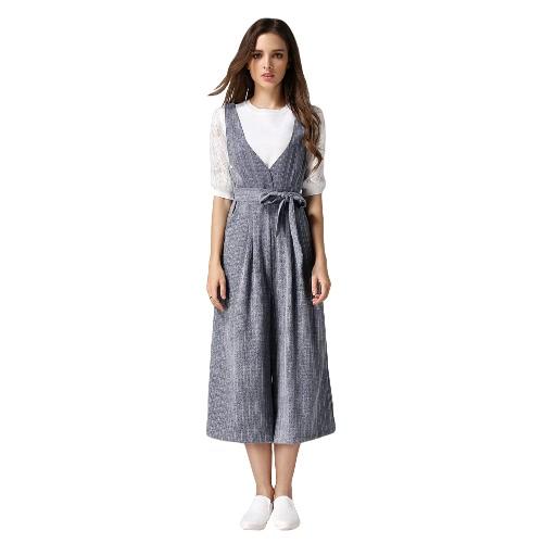 Moda mujeres sueltas mono contraste raya con cuello en v sin mangas correa lateral bolsillos cremallera cierre Playsuit mamelucos gris