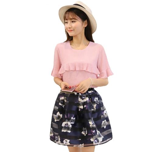 Nueva moda mujer Set de dos piezas volantes malla flor correa impresión de llamarada gasa camiseta de manga empalme dulce traje de dos piezas vestido rosa/azul