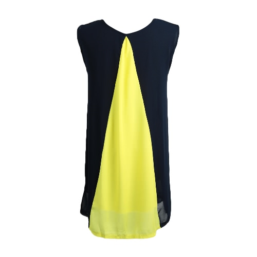 Fashion Women Chiffon Mini Dress Splicing O Neck Sleeveless Partial Lined Beach Dress White/Blue/Yellow