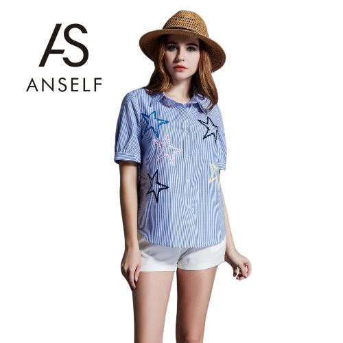 Moda mujer Plus tamaño algodón blusa raya descubierta Collar botón cierre manga corta bordado blusa azul