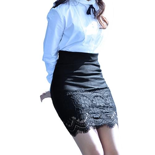 Mujeres Crochet encaje falda cintura elástica hueco hacia fuera trabajo carrera OL Mini falda negro