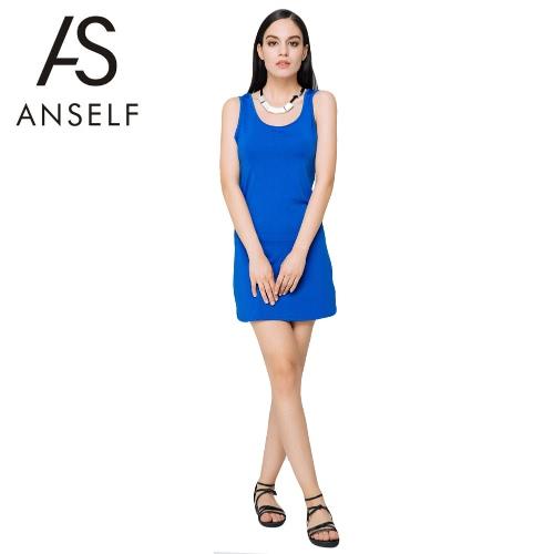 Новая сексуальная летних женщин мини платье сплошной цвет O шеи без рукавов эластичные вскользь Bodycon Beach сарафан синий