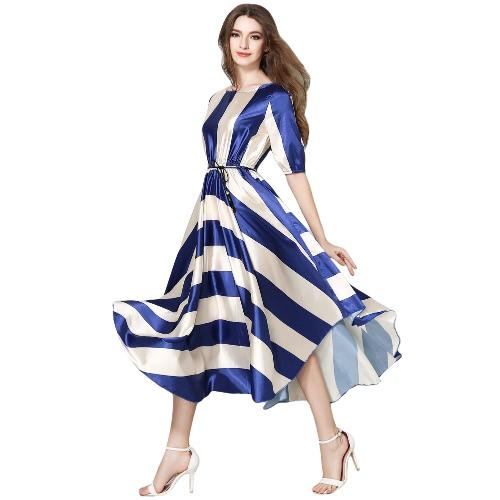 New Fashion Women Dress Striped O-Neck Half Sleeves Elastic Waist Asymmetrical Hem Belt Big Swing Dress Blue