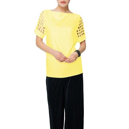 Новая мода Женщины плюс размер Блеск Slash Шея выдолбленный короткий рукав Loose Solid Top фото