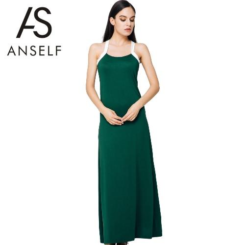Mulheres sexy vestido espaguete sólido cinta sem mangas tornozelo comprimento verão praia vestido verde escuro do tanque