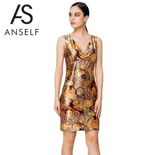 Nuovo Sexy estate donna Mini abito Vintage stampa scollo a v senza maniche elegante Bodycon partito sera Sundress Brown