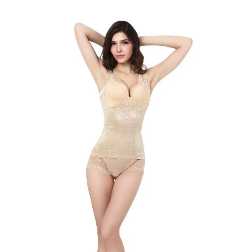 Mulheres sem costura quente Shaper do laço gola v sem mangas Slimming Underwear Shapewear cintura formação colete no máximo