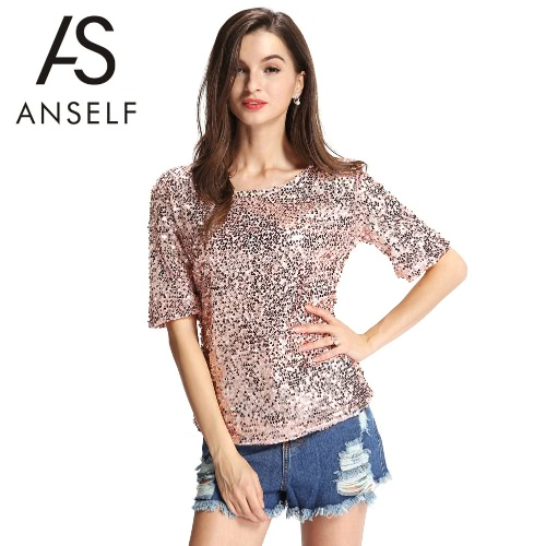New Sexy Women Sequin Sparkle Koszulka Glitter Half Sleeve Luźna Koktajl Bling Shiny Top Pink