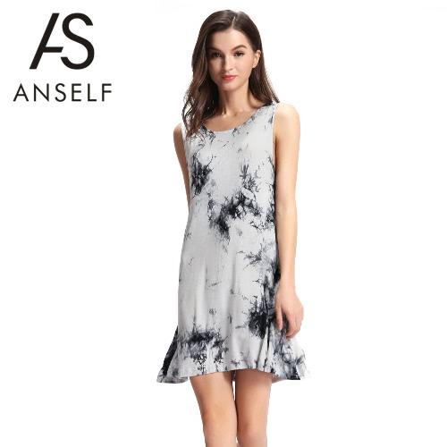 Nova verão Sexy mulheres Mini vestido tie-dye tinta imprimir O pescoço sem mangas macio elegante Casual vestido preto
