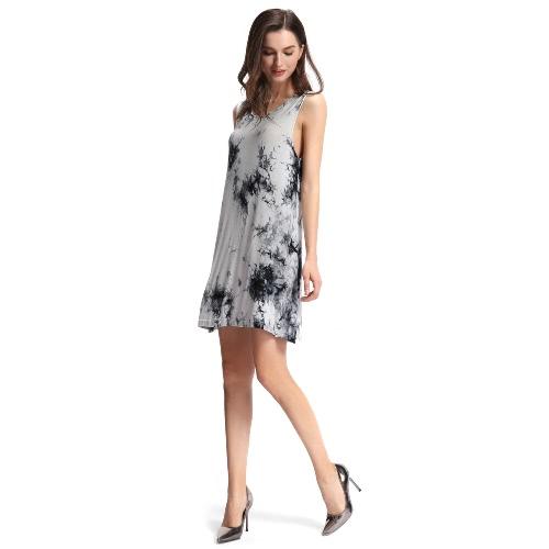 Новый сексуальный летний женщин мини-платье тай-красителя чернил печати O шеи без рукавов мягкой элегантной непринужденной сарафан черный фото