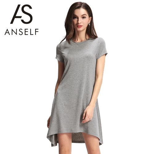 Fashion Women Shift Dress Asymmetric Hem O Neck Short Sleeve Solid Casual Mini Dress Grey