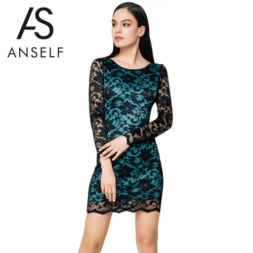 Femmes sexy en dentelle robe tour de cou manches Backless Club Wear Party robe Bodycon bleu