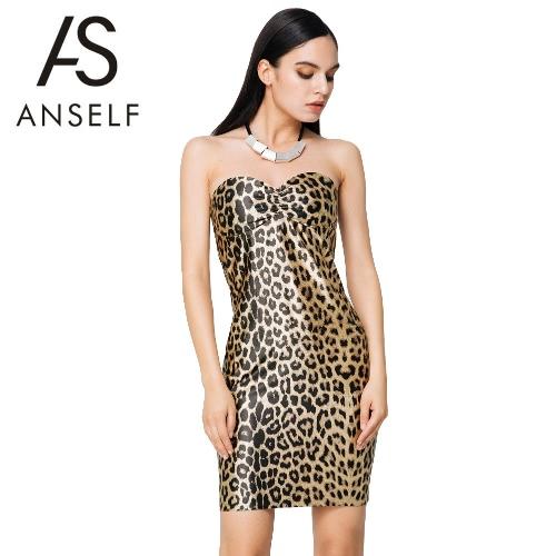 Sexy Kobiety bez ramiączek Mini Sukienka Leopard Drukuj Padded Filiżanki Zipper Slim Bodycon Party Dressup Clubwear Sukienka Brown