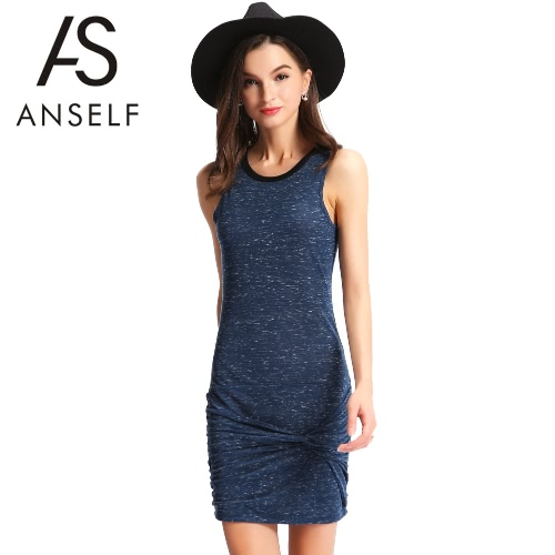 New Sexy Women Bodycon Dress Front Knot Contrast O Neck Sleeveless Cocktail Party Bandage Tank Mini Dress Blue