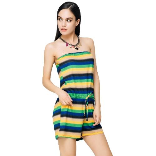 New Fashion Kobiety Slash Neck Jumpsuit Kontrast Stripe sznurowany pasek Romper Playsuit zielony / czerwony