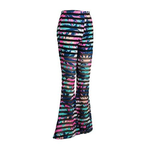 Moda donna pantaloni a zampa con elastico occhiello Mesh Fitness pantaloni lunghi Leggings Slim rosa/Blue