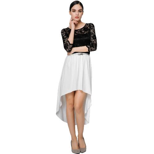 New Fashion Women Dress Lace Insert Hollow Out Asymmetric Hem O-Neck Three-Quarter Sleeves Sexy Dress Black/White