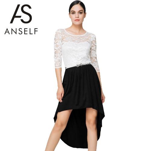 Vestido de las mujeres de la nueva manera de encaje Insertar ahueca hacia fuera el dobladillo asimétrico O-Cuello de tres cuartos mangas vestido Sexy Negro / Blanco