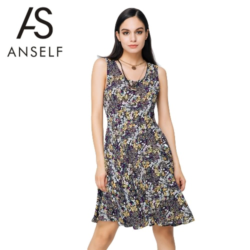New Fashion Dress Mulheres Floral Imprimir Color Block em torno do pescoço sem mangas Mini Vintage One Piece-Amarelo