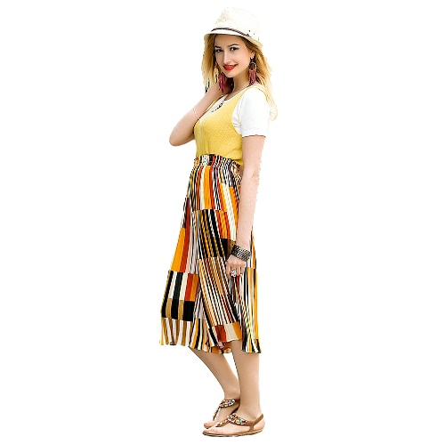 New Fashion Women Wide Leg Pants Contrast Color Stripe Pleated Chiffon Loose Capris Cropped Trousers Culottes Yellow