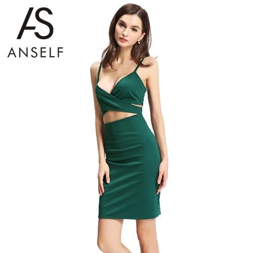 Vestitino verde cinghia di spaghetti donne sexy Vestito aderente ritaglio profondo scollo a V posteriore della chiusura lampo del partito