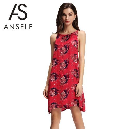 Nueva Sexy gasa de las mujeres mini Resbalón de espagueti del vestido de la correa de espalda abierta mangas floja ocasional elegante del partido del vestido / azul rojo oscuro