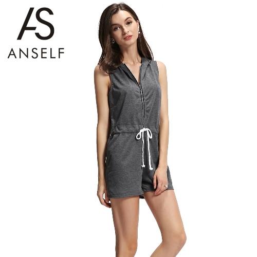 Moda feminina com capuz Jumpsuit Frente Zipper com cordão cintura mangas Playsuit macacãozinho Cinza