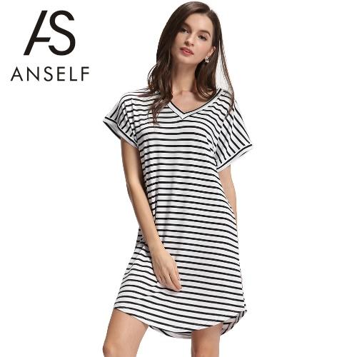 Nowe mody Kobiety Stripe Dress V-neck Krótki Batwing Rękawy Curve Hem Casual Dress Mini Biała