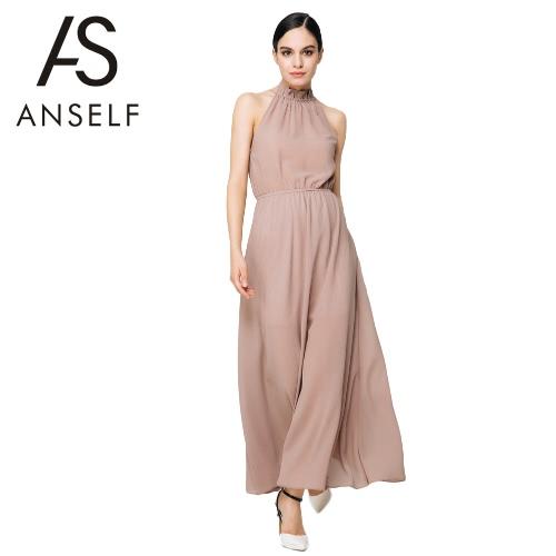 Tortuga vestido de la gasa atractiva del nuevo de las mujeres del cuello del color sólido de ahueca hacia fuera ocasionales flojas de café vestido elegante