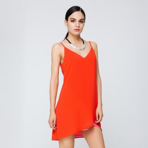 TOMTOP / New Sexy Mulheres vestido de chiffon cor sólida V-Neck Spaghetti Strap soltas Casual elegante vestido laranja