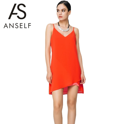 New Sexy Women Chiffon Dress Solid Color V-Neck Spaghetti Strap Loose Casual Elegant Dress Orange