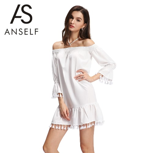 New Fashion Dress Mulheres Off The Shoulder estiramento guarnição Tassel Hem Mini elegante Mini One Piece-Branco
