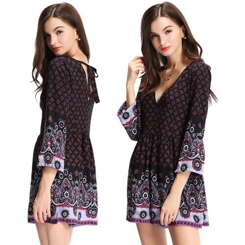 New Fashion Women Print Jumpsuit Deep V Neck 3/4 Sleeve Back Zip Self-tie Strap Romper Playsuit Black
